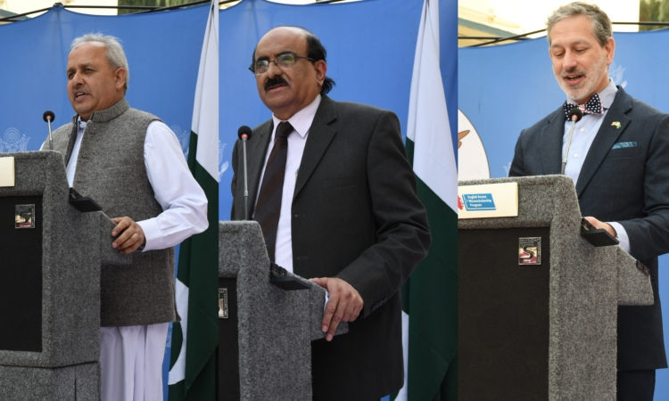 Dr. Habib Ahmad, VC Islamia College, Dr. Muhammad Tahir Shah, VC FATA University and Mr. Jonathan Shrier US Consul General Peshawar at Access Ceremony